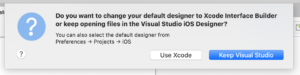 Visual Studio 2019 for Mac version 8.5 Preview 2 enables you to select the iOS Storyboard Designer you prefer.