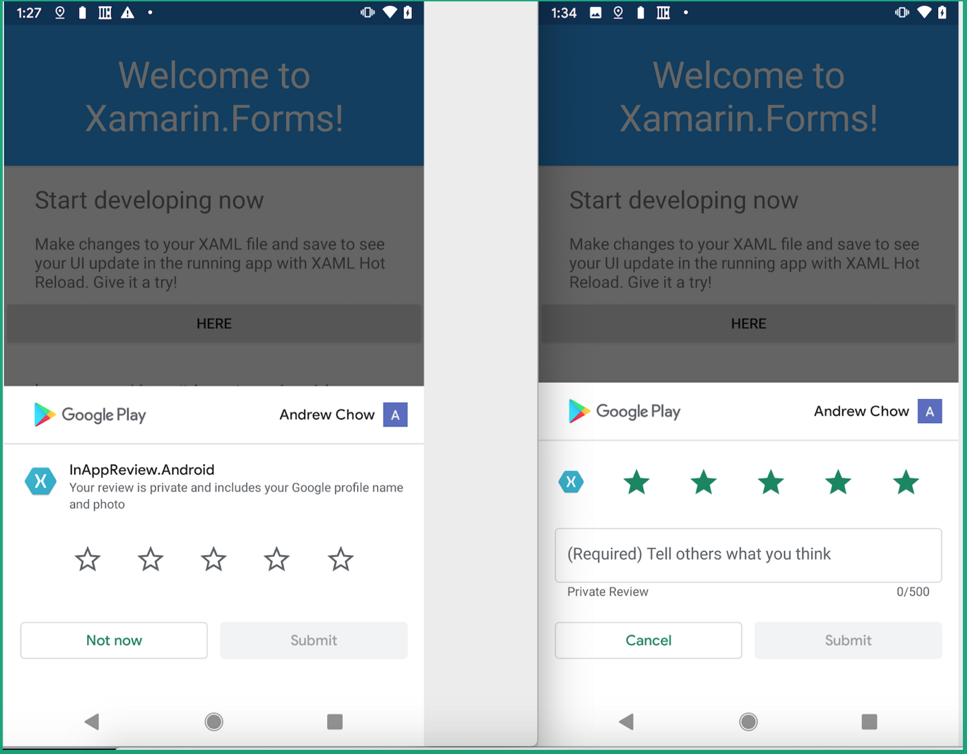 Screenshots showing In-App Reviews on a Xamarin Android app