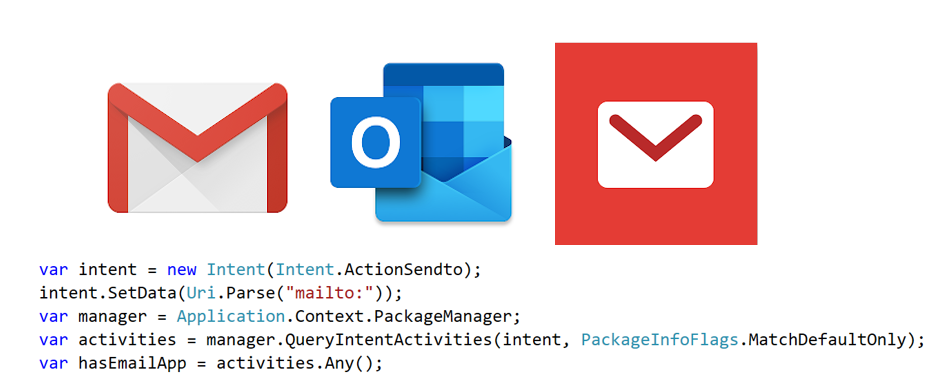 App icons for email apps and code to query intents on the device
