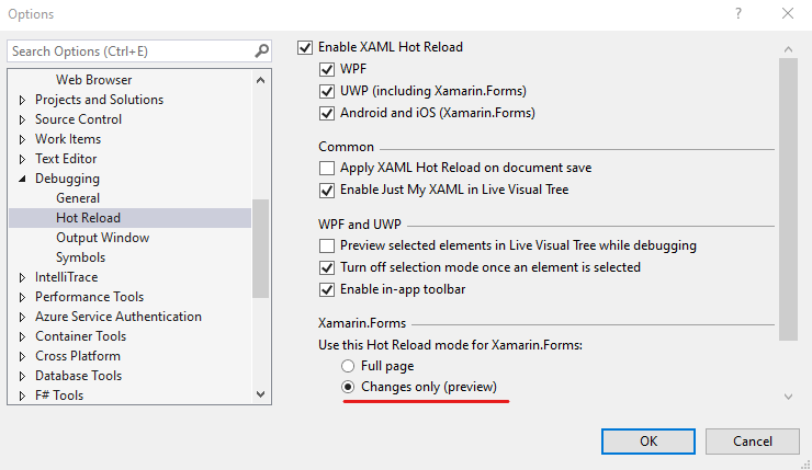 Tools options menu in visual studio to turn on the new Hot Reload changes only option